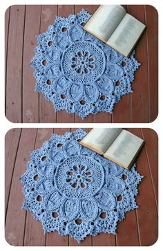 Crochet doily rug Blue round rug 23 inches Crochet decor Blue home decor Relief carpet Hard rug Massage rug - pinned by pin4etsy.com