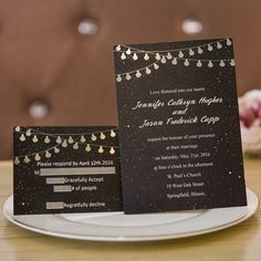 starry sky wedding invitations with silver glitter string lights EWFI021