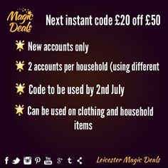 Next instant code 20 off 50 online spend. Here's the code: 2538030194 Please tag your friends who could benefit from this deal. #leicestermagicdeals #leicester #leicestershire #shoplocal #next #deals
