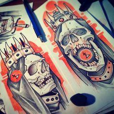by Vitaly Morozov Tattoo Sketches, Tattoo Drawings, Skull Tattoos, Sleeve Tattoos, Tattoo Oriental, Flash Drawing, Reaper Tattoo, Just Ink, Geniale Tattoos