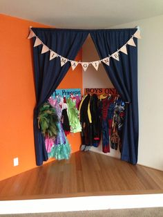 Costume storage and stage area