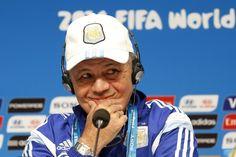 Head Coach Alejandro Sabella of Argentina gestures during a press...