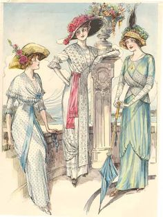 Dress on the left has a fichu-like collar and she wears a straw hat shaped like a tricorn