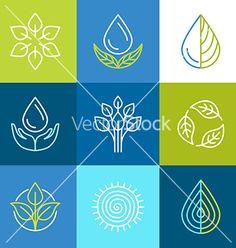 Organic logos vector. Environmental icons by venimo on VectorStock®