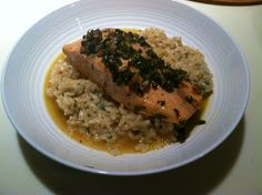 Just Cooking!: Baked Salmon With a Lemon, Caper, Butter Sauce Over Risotto