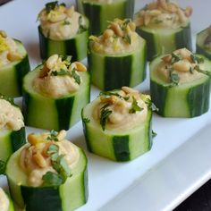 Hummus Cucumber Cup Appetizers from @alejandraramos