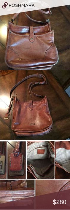 """Frye campus Crossbody purse Frye Distressed leather with adjustable strap, topstitch detail, outside pocket, snap closure. Fabric lining with zip and open pockets.  Approx 12""""W x 4-1/2""""D x 11""""H.  Saddle color, comes with the dust bag. In great condition Frye Bags Crossbody Bags"""