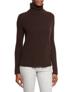 B31CL Ralph Lauren Black Label Easy Turtleneck Cashmere Sweater, Chocolate Donegal
