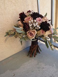 Amnesia Roses, Brunia, Eggplant Dahlias, and Seeded Eucalyptus - The Fleurist: Amnesia Rose Bouquet