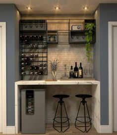 65 Best and Cool Home Bar Design Confused to make a bar room? On the topic of design for our favorite home is to discuss the design of the bar room that will be in our home. Home Bar Rooms, Diy Home Bar, Home Bar Decor, Home Wine Bar, Home Bar Counter, Bar Counter Design, Bar In Kitchen, Bar Cabinets For Home, Kitchen Design