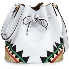 Les Petits Joueurs Daliah Geometric Leather Bucket Bag (27.640 UYU) ❤ liked on Polyvore featuring bags, handbags, shoulder bags, sacs, white, drawstring bucket bag, handbags shoulder bags, white leather shoulder bag, hand bags and purse shoulder bag