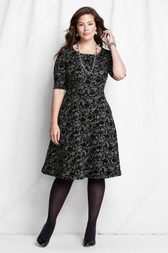 November 14th Launch:Ponte Boatneck Flock Dress by Land'sEnd, Available in sizes M/L, 0X/1X/2X, and 3X