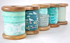 wooden ribbon spools :: cute ribbon storage