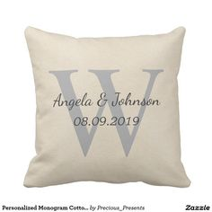 Personalized Monogram Cotton Fabric Textured Outdoor Pillow