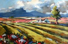 . Modern Paintings, South African Artists, Painting Inspiration, Acrylics, Fields, Presents, Pumpkin, Watercolor, Landscape