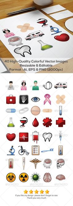 40 Medical Vector icons  #GraphicRiver         Features:   40 High-Quality Colorful Vector Images.  Color mode: CMYK.  Adobe Illustrator CS 4 and above.  Clean & Modern Style.