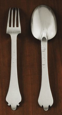 A FRENCH SILVER FORK AND SPOON, SAMUEL MARGAS, the elder ROUEN, 1658 Many Protestant Huguenot Silver/Goldsmiths in Rouen fled their home country of France to avoid religious persecution by the state via the Dragoons and the Musketeers and the Catholics The Margas family of Silversmiths settled in London