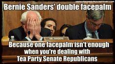 Bernie sander's double face-palm, because one face-palm isn't enough when you're dealing with Tea Party Senate Republicans.