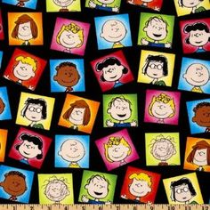 Amazon.com: 44'' Wide Happiness Is…Peanuts Character Frames Black Fabric By The Yard: Arts, Crafts & Sewing