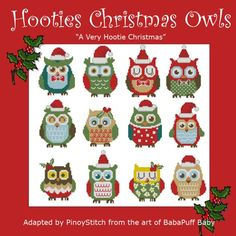 Hooties Christmas Owls Mini Collection Cross Stitch by PinoyStitch, $7.50
