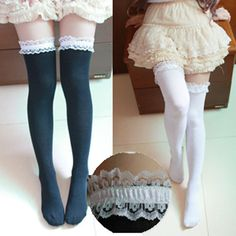 Women Girl Cute Knit Lace Lolita Stocking Thighhigh Legging Sock Cosplay Dance #New #ThighHighs