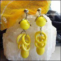 Funky Vintage Earrings Yellow Hoop Pierced Dangles 1970s Jewelry $24