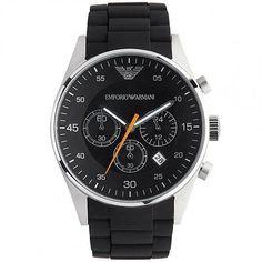 Authentic Emporio Armani AR5858 Men's Black Rubber Strap Chrono Designer Watch