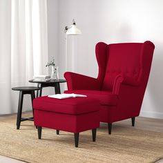 IKEA offers everything from living room furniture to mattresses and bedroom furniture so that you can design your life at home. Check out our furniture and home furnishings! Red Room Decor, Red Living Room Decor, Ikea Living Room, Living Room Designs, Strandmon Chair, Wingback Chair, Red Accent Chair, Accent Chairs, Red Ottoman