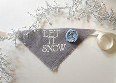 Let It Snow Winter Burlap Dog Bandana Blue by AllPuppiesandLove, $20.00