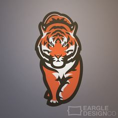 Walking Tiger designed by Adam Eargle. the global community for designers and creative professionals. 2048x1152 Wallpapers, Tiger Illustration, Sports Decals, Tiger Logo, Sports Team Logos, Tiger Design, Animal Logo, Creative Words, Mythical Creatures