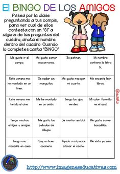 "Actividad para los primeros días de clase ""El BINGO DE LOS AMIGOS"" (3) Spanish Teacher, Spanish Classroom, Music Classroom, Teaching Spanish, First Day Of School Activities, First Day Of Class, 1st Day Of School, Counseling Activities, Teaching Activities"