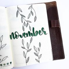 Bullet journal monthly cover page, November cover page, plant drawing, plant bullet journal theme. Bullet Journal Month, Bullet Journal Cover Page, Bullet Journal Notes, Bullet Journal Hacks, Bullet Journal Themes, Bullet Journal Inspiration, Journal Layout, My Journal, Journal Pages