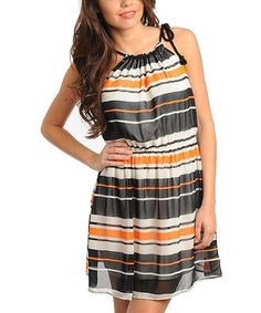 Take a look at this Black & Ivory Stripe Sleeveless Dress - Women by Buy in America on #zulily today!