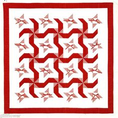 RED RIBBONS & PEPPERMINT CANDY BLOCK VINTAGE CHRISTMAS QUILT PATTERN