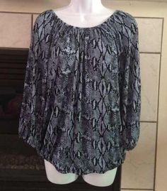 Used Michael Kors Blue and Black Snakeskin Print Long Sleeve Top Size Small | eBay