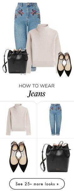 """Jimmy Choo's and embroided jeans"" by queenmilliefaith on Polyvore featuring Miss Selfridge, Vanessa Seward, Jimmy Choo, Mansur Gavriel and Jewelonfire"