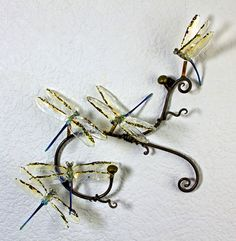 Loy Allen Glass ~ 2012 Wall-mount Metal & Glass Pieces dragon fly
