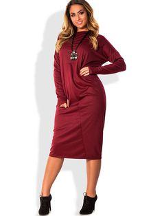850a65efeb2 Plain Plus Size Women s Long Sleeve Dress