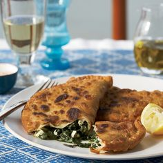 Jacques Pépin ordered a saiti, a turnover filled with tangy wild greens and feta, at Marianthi tavern in the Greek village of Monemvasía. This recip. Greek Recipes, Wine Recipes, Greek Spinach Pie, Homemade Greek Yogurt, Greek Dishes, Side Dishes, Main Dishes, Greek Cooking, Hand Pies