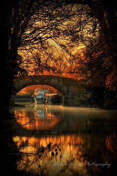 Sunrise on the Ripon canal, North Yorkshire, England