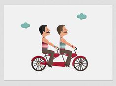 Illustration. Tandem Love and moustache. $18.00, via Etsy.