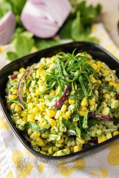 Summer Corn Salad with Basil Pesto Aioli | #Vegan Yack Attack