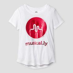 Girls  musical.ly Shimmer Short Sleeve T-Shirt - White S 0f87db7a0cb