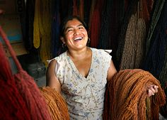 Yet another unruly Oaxacan! This is the kind of reception you can expect if you come to Oaxaca this year. Josefina Lazo in Teotitlan del Valle this Spring showing off the wools that go into their amazing tapestries.