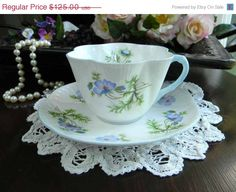 SHELLEY BLUE POPPY Teacup Cup and Saucer