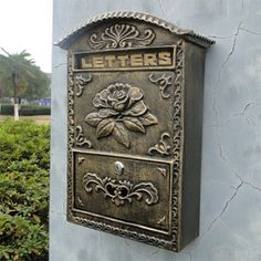 Cast Iron Flower Mailbox Embossed Trim Decor Bronze Look Free Shipping Home Garden Decorative Wall Metal Mail Post Box Outdoor $159.25