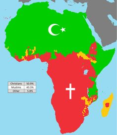 Want to understand religion in Africa? Then the map above is a good place to start. Basically, Islam dominates the North and East of the continent, while Christianity dominates the South and West, … Religion In Africa, Folk Religion, Gravure Illustration, Geography Map, Ap Human Geography, Art Africain, World Religions, Thinking Day, Historical Maps
