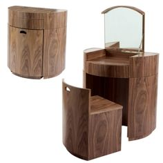 Hideaway dressing table walnut and other furniture & decor products. Tiny House Furniture, Space Saving Furniture, Wood Furniture, Furniture Design, Furniture Outlet, Furniture Stores, Dressing Table Modern, Modern Table, Dressing Table Ideas Ikea
