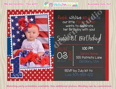 Printable 4th of July Birthday Invitation Fireworks Firecracker