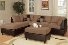Living room furniture sets - Microfiber sectional sofa with chaise and ottoman. Visit us for more information and where to buy!